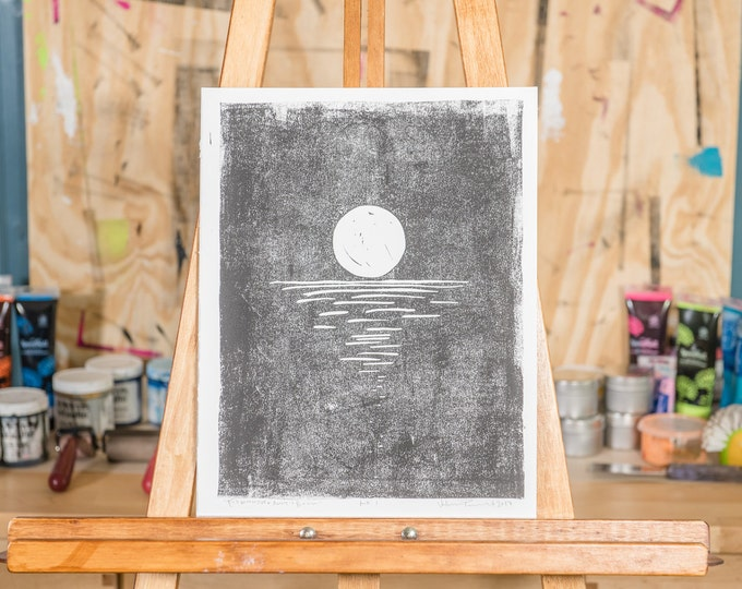 "11x14"" Original Linocut, ""Full Moon Over Anne's Beach"" Hand Carved. Hand Inked. Hand Pressed."
