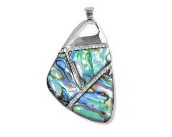 Free Form Abalone Shell, Australian Crystals Pendant in Silver-tone Without Chain