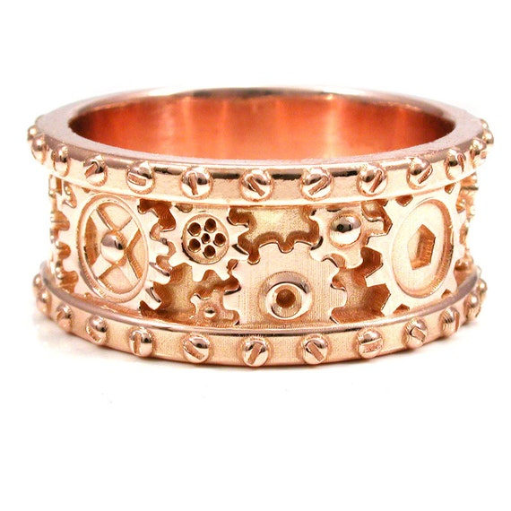 Size 10.5 - 11 - 14k Rose Gold Gear Ring with Rivets - Steampunk Ready to Ship Mens Wedding Band