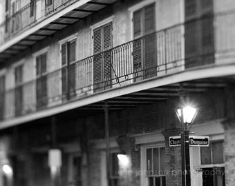 black and white new orleans french quarter photography, architecture art, new orleans art, street signs,  Chartres & Dumaine