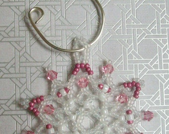 Christmas Holiday FROZEN Snowflake Ornament 033 - Hand Stitched Swarovski Crystal and Glass Beads - Pink and White