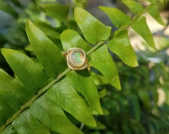 Simple Wire-Wrapped Opal Ring in 14k Gold Filled Wire, size 5.5