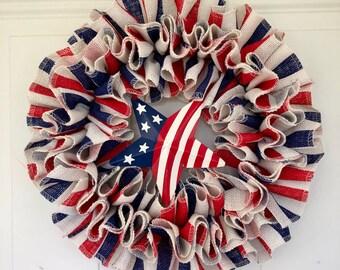 Patriotic wreath/Fourth July wreath/red white and blue wreath/July 4th wreath/Summer wreath/USA wreath/Patriotic burlap wreath/Primitive