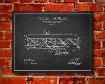 1906 Flying Machine Patent, Canvas Print, Wall Art, Home Decor, Gift Idea