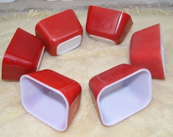 Lot of 6 PYREX Primary Red 501 Refrigerator Dishes no lids