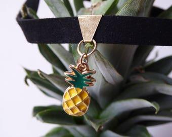 pineapple choker ... TROPICALIA - or Earrings - or set - boho, bohochic, retro, vintage, tropical, fruit jewelry, indie, quirky, bohemian,pu