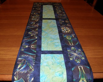 Modern Quilted Table Runner, Contemporary Royal Blue Aqua Table Runner Quilt,  Formal Table Runner, Quiltsy Handmade, Modern Table Runner