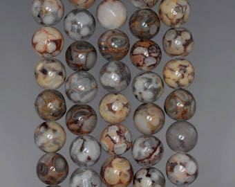 12mm Natural Fossil Crinoid Gemstone Brown Round Loose Beads 15 inch Full Strand (80003080-127)
