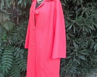 Vintage Coat, 1970s, Red Orange Knit, Dress Coat, Polyester, Size large