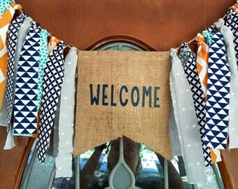 CUSTOM BANNER.Welcome door banner.Birthday banner.First birthday door banner.Welcome party banner.