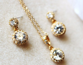 Petite Delicate Gold Wedding Jewelry Set Gold Bridal Jewelry Set Crystal Bridesmaid Jewelry Gold Bridesmaid Gift Set Minimalist Jewelry