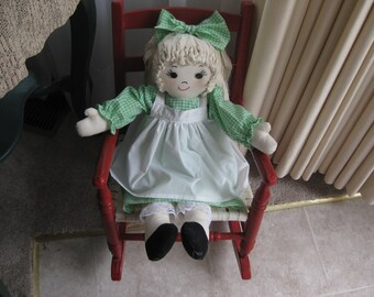 Cloth Doll with Rag Hair Handmade 26 Inch