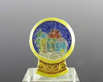 Enamel Studio Button, Snow Globe with Coralene