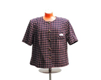 Vintage tweed blouse, plus size short sleeve top, blue red checked pattern, cotton fabric, pocket square, buttons, 1960s handmade fashion