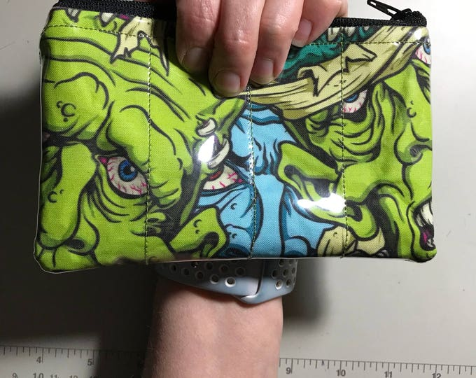 Zippered Pouch - Monster vinyl covered coin purse/change purse