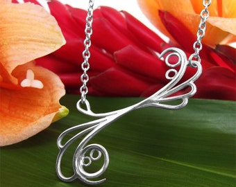 Flower Necklace, Sterling Silver, Handcrafted, Bubble, Wave, Swirl, Spiral, Loop. MAYAN REEF NECKLACE.