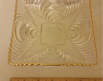 """vintage square clear glass plate dish w/ optic circles swirls and gold trim 6""""x6"""" - candy trinket serving jewelry kitchen optical home decor"""
