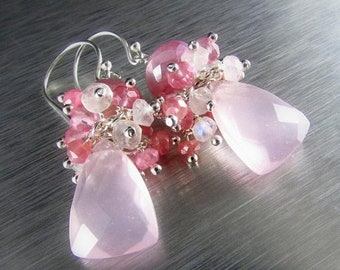 20% Off Rose Quartz and Moonstone Sterling Silver Cluster Earrings