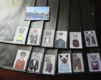 12 Kraft envelopes animal COSTUMES black 12 x 20 cm