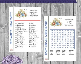 Book Themed Baby Shower Game Package - Word Search - Candy Match - Price is Right - What's in Your Purse - Instant - Nursery Rhyme