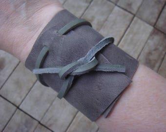 Grey Leather Cuff - Boho Cuff - Leather Cuff - Leather Wrap Cuff - Leather Wrap Bracelet - Leather Jewelry -Boho Jewelry - Wide Leather Cuff