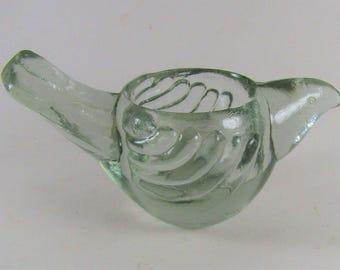 Clear Glass Bird Tea Light Candle Holder