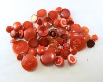 50 Plastic Red Shank Button Mix - Red Craft Buttons - Red Button Mix - Bulk Red Buttons - Mixed Red Sewing Buttons - Vintage Buttons
