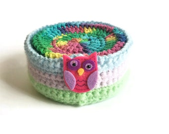 Colorful Rainbow Crochet Coaster Set, Cotton Coasters with Holder, Set of Six Mug Rugs