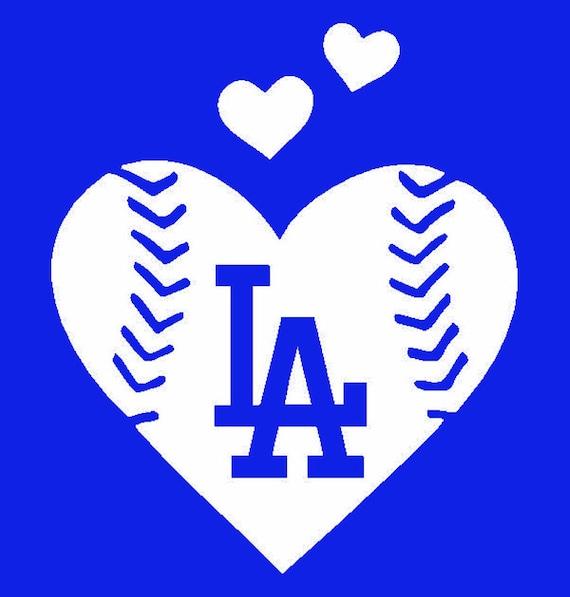 La Dodgers Baseball Heart Vinyl Decal Window Computer Decal