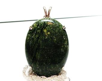 "Serpentine, russian serpentine, serpentine cabochon, serpentine pendant, green black,   ""Green escape"""