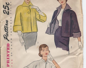 1950s Vintage Misses' REVERSIBLE JACKET TOPPER in Two Lengths Sewing Pattern - Size 14