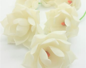 6 Opaque White Magnolia Polymer Clay Handcrafted Flowers Wedding Gifts
