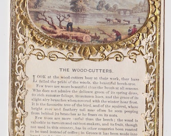 Antique Victorian Card The WOOD Cutters the Virtue of the BEECH TREE