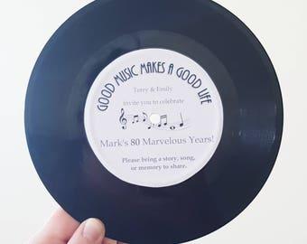 Custom Vinyl Record Label Wedding Invitation Table Theme 50's 60's 70's 80's Decoration Retro Disco Vintage Rock Roll Birthday Save the Date