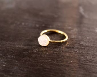Confetti White Druzy Hammered Ring (Gold Sterling Silver Rose Gold Drusy Quartz Stacking Ring Gifts Under 50)