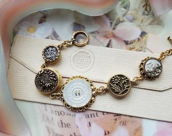 Antique Button Charm Bracelet, Historic Jewelry Victorian Mother of Pearl, Toggle Bracelet Antique Button Bracelet veryDonna