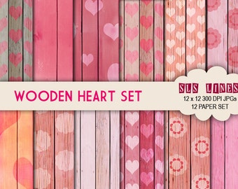 wood digital papers with hearts and flowers, wooden texture background papers, pink and red heart commercial use