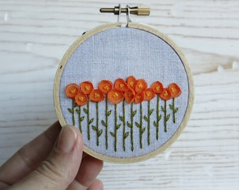 Embroidery Hoop Art - Orange Ribbon Poppies on Natural Linen Hand Embroidered Fiber Art - 3 Inch Hoop