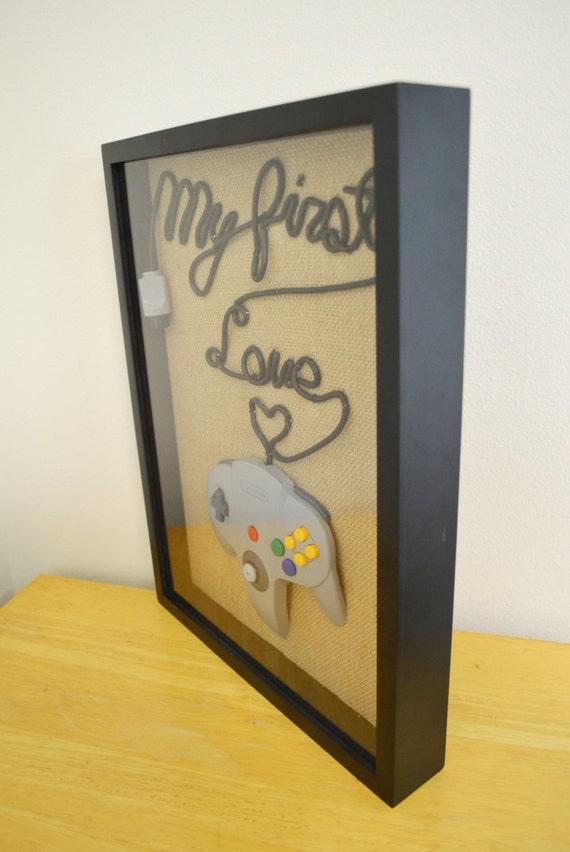 Nintendo 64 Wall Art Shadow Box - N64 My First Love Fancy Writing ...
