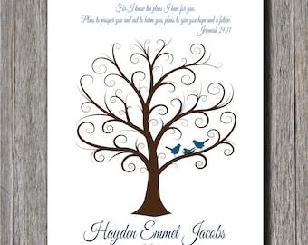 Baby Shower Fingerprint Tree -  20x30 - Guest Book Tree - NB - 250 Fingerprints