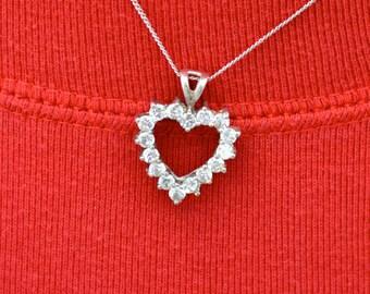 Sterling Silver CZ Heart Pendant Necklace Vintage