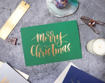 Calligraphy Christmas Card - Green card with Gold Ink