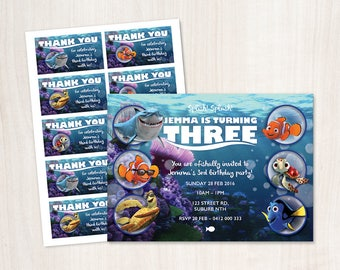 Finding Nemo Birthday Invitation and Thank you Tags