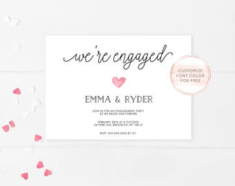 Engagement Party Invitation, Printable Engagement Party Invitation, Engagement Party, Simple Engagement Party Invite, Engagement Party [573]
