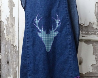 Upcycled Children's Clothing  little Girls Cross Back Pinafore Top Deer Head Denim Pinafore Top