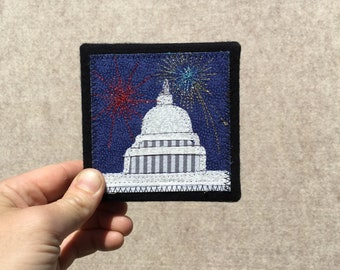 Mini Capitol Building with Fireworks, 4x4 inches, original sewn fabric artwork, handmade, freehand appliqué, ready to hang canvas
