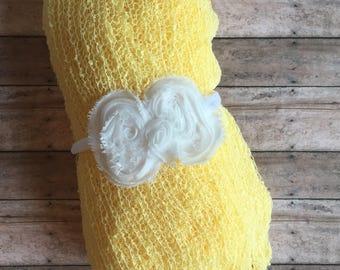 Flower headband with baby wrap, baby headband with wrap, newborn headband set,l