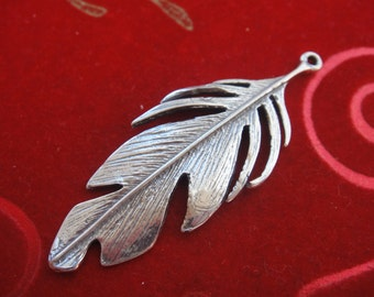 925 sterling silver large feather, silver large feather, silver feather
