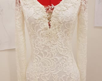 long sleeve lace wedding dress/simple beach wedding dress/bohemian wedding dress/simple backless wedding dress/boho wedding drs/beach bridal