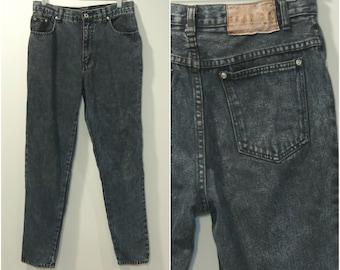 90s Black Mom Jeans 29.5 Waist High Waisted Jeans Vintage